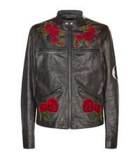Dolce And Gabbana Cross Stitch Floral Leather Jacket Male Grey
