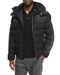 Moncler Ryan Nylon And Wool Hooded Puffer Jacket Black