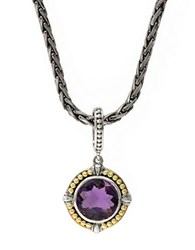 Effy Sterling Silver 18K Yellow Gold And Amethyst Pendant Necklace Purple