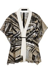 Roland Mouret Snagsby Belted Fil Coupe Jacket Metallic