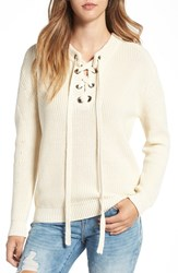 J.O.A. Women's Lace Up Sweater Ivory
