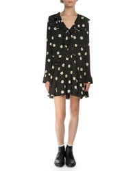 Saint Laurent Long Sleeve Daisy Print Mini Dress Black White Yellow Black White Yello