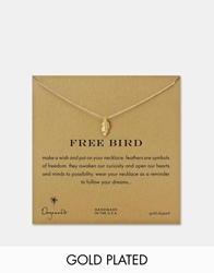 Dogeared Free Bird Feather Charm Necklace Gold