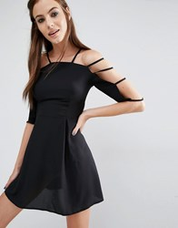 Love Cage Sleeve Dress Black