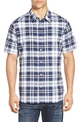 Men's O'neill 'Burns' Short Sleeve Plaid Woven Shirt Dark Blue