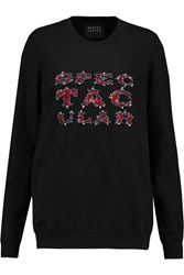 Markus Lupfer Anna Sequin Embellished Cotton Sweatshirt Black