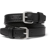 Balenciaga Wrapped Creased Leather Bracelet Black