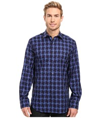 Bugatchi Enrico Long Sleeve Woven Shirt Navy Men's Long Sleeve Button Up