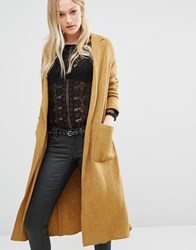 Pull And Bear Pullandbear Coatigan Duster Coat Mustard Gold