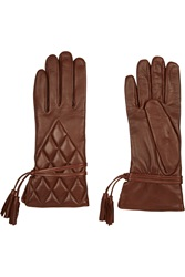 Agnelle Silk Lined Quilted Leather Gloves Brown