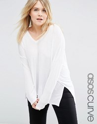 Asos Curve V Neck Top With Long Sleeves In Oversized Slouchy Rib White
