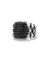 David Yurman Armory Men's Black Diamond Signet Ring Silver Gold