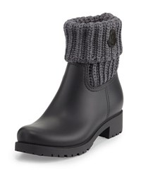 Moncler Ginette Rubberized Leather Boot W Knit Collar Grey