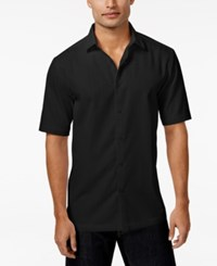 Alfani Black Men's Big And Tall Textured Grid Pattern Short Sleeve Shirt Only At Macy's Deep Black