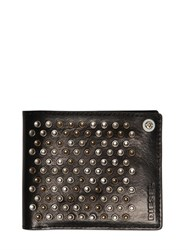 Diesel Studded Leather Wallet With Zip Pocket