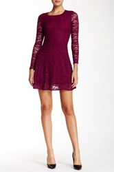 Love...Ady 3 4 Length Sleeve Scoop Neck Lace Skater Dress Red