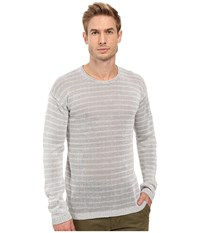 John Varvatos Striped Long Sleeve Crew Neck Sweater Y1313s2b Dew Grey Men's Sweater Gray