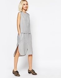 Paisie Sleeveless Shirt Dress Grey