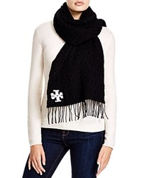 Tory Burch Whipstitch Signature T Scarf Black