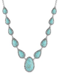Lucky Brand Silver Tone Blue Stone Long Statement Necklace