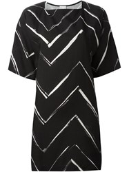 Eggs Square Neck Chevron Pattern Dress Black