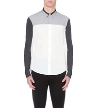 Wooyoungmi Regular Fit Contrast Panel Cotton Shirt White