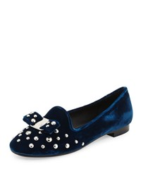 Salvatore Ferragamo Scotty Studded Velvet Loafer Blue
