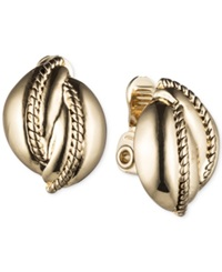 Jones New York Silver Tone Rope Twist Clip On Stud Earrings Gold