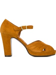 Chie Mihara Peep Toe Scalloped Sandals Nude And Neutrals