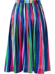 Isolda Midi Pleated Striped Skirt Pink And Purple