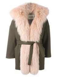 Ava Adore Fur Trim Coat Green