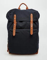 Asos Backpack With Contrast Straps Navy