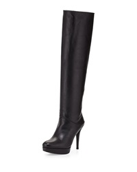 Stuart Weitzman Slouchy Leather Platform Boot Black