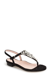 Taryn Rose 'Ibsen' Jeweled Thong Sandal Women Black Suede