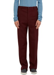 Lanvin Straight Leg Buttoned Worker Pants Burgundy