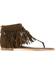 Tod's Fringed Sandals Brown