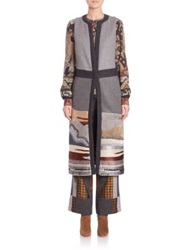 Etro Embroidered Wool And Angora Landscape Hem Vest Medium Grey