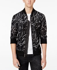 Guess Men's Long Sleeve Marble Mesh Bomber Jacket Marble Print Jet Black