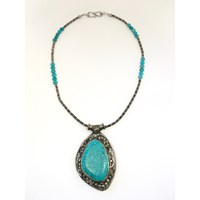 Dripping In Gems Tibetan Silver Boho Collection Turquoise Stonelarge Turquoise Pendant