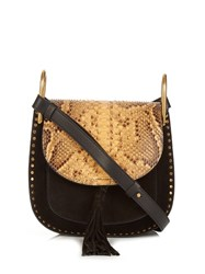 Chloe Hudson Small Python And Suede Cross Body Bag Black Multi