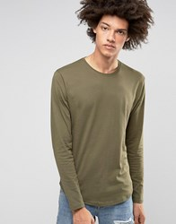 Troy Long Lined Curved Long Sleeved Top Green