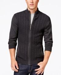 Tasso Elba Big And Tall Ribbed Full Zip Elbow Patch Sweater Only At Macy's Charcoal