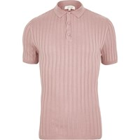 River Island Mens Pink Ribbed Muscle Fit Polo Shirt
