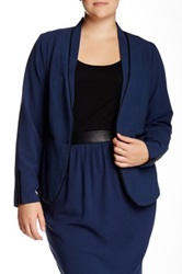 Mynt 1792 Faux Leather Trim Blazer Plus Size Blue