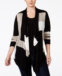 Inc International Concepts Plus Size Colorblocked Multi Stitch Cardigan Only At Macy's Black