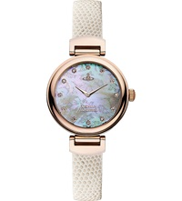 Vivienne Westwood Vv128rswh Leather And Mother Of Pearl Hampton Watch White