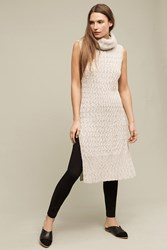 Anthropologie Cableknit Turtleneck Tunic Neutral