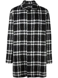 Msgm Checked Mid Coat Black