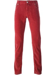 Jacob Cohen Corduroy Slim Trousers Red