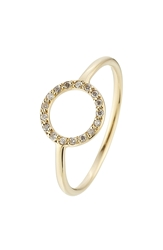 Ileana Makri Little Circle 18Kt Yellow Gold Ring With White Diamonds